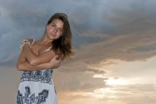 Free Girl Poses Against The Sky Stock Photos - 20555833