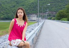Free Asian Girl And Beautiful Landscape Stock Photos - 20555893