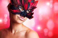 Free Portrait Of Beautiful Woman In Mask Stock Images - 20556734