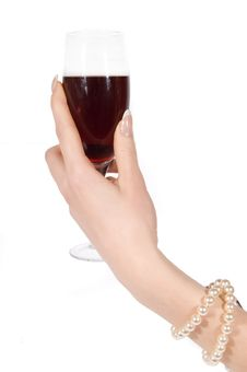 Free Hand With Pearl Bracelet Holding Wineglass Stock Images - 20556824