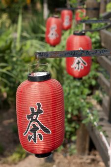 Red Lanterns With With Chinese Letters Tea Stock Photography