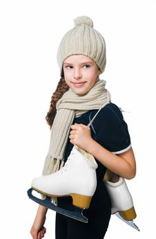 Free Cute Little Girl With Figure Skates Royalty Free Stock Photography - 20557767