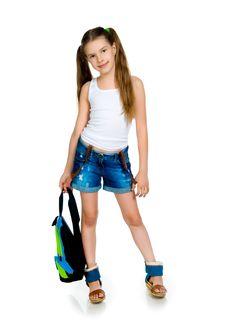 Cute Schoolchild With Knapsack Stock Image