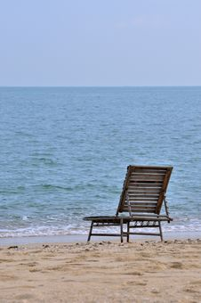 Lonely Chair At Sea Beach Royalty Free Stock Photo