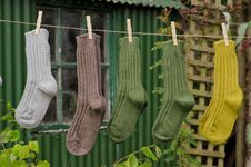 Heavy Ribbed Wool Socks Outdoors Stock Photography
