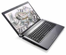 Free Laptop Money (Dollars) Treasure Royalty Free Stock Photos - 20559048