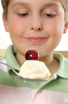Free Boy With Ice Cream And Cherry On Top Stock Photography - 20559452