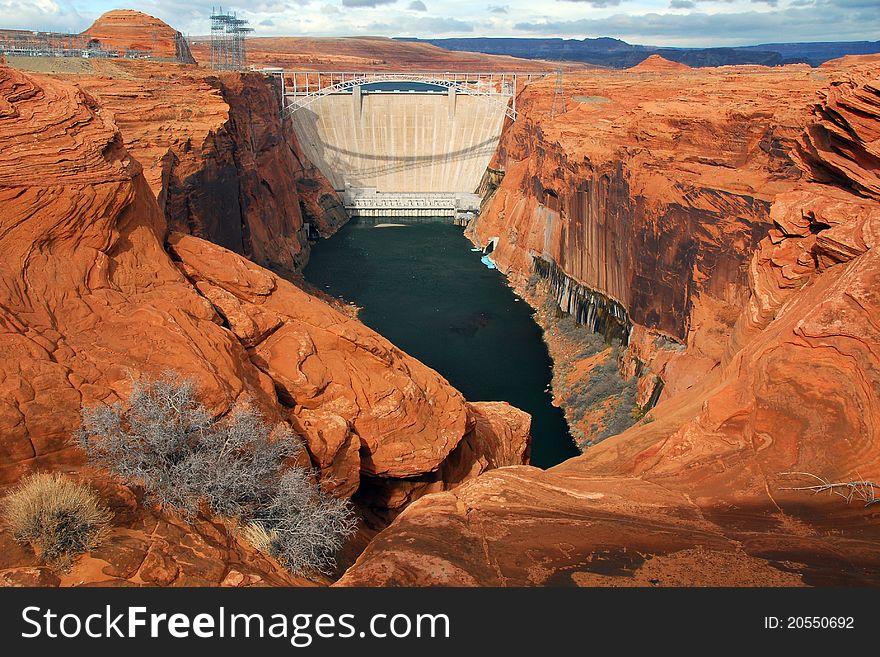 Downstream View of the Glen Canyon Dam, Utah
