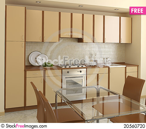 Free Modern Kitchen. Stock Photo - 20560720