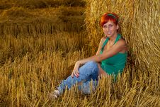 Free Young Woman In Wheat Field Royalty Free Stock Images - 20560739