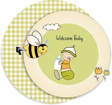 Baby Arrival Announcement Card Stock Photo