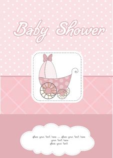Free Baby Shower Announcement Card With Pram Stock Photos - 20560863