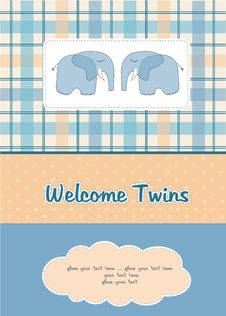 Free Twins Baby Shower Card Royalty Free Stock Photo - 20561005