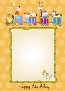 Free Birthday Card With Animal Toys Train Stock Photos - 20561173