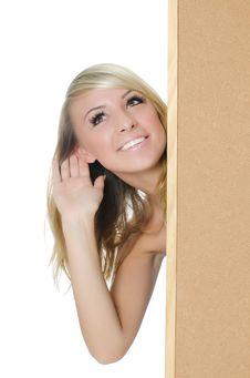 Free Woman Holding A Blank Corkboard Stock Image - 20561691