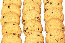 Three Piles Of Chocolate Chip Cookies