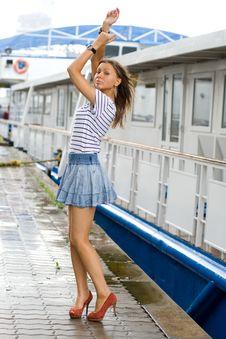 Free Girl Walking Outdoor On Embankment Royalty Free Stock Photo - 20564405