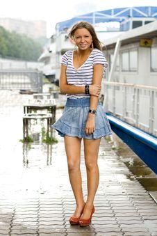 Free Girl Walking Outdoor On Embankment Stock Photography - 20564442
