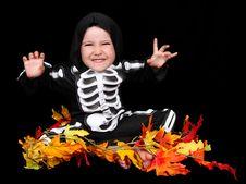 Sweet Little Boy Skeleton Costume. Isolated Stock Photography