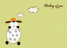 Free Cute Love Card With Sheep Royalty Free Stock Image - 20565006