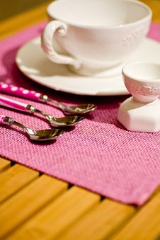 Cups And Cutlery For Breakfast Royalty Free Stock Photography