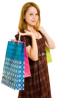 Free Girl With Shopping Royalty Free Stock Photo - 20565585