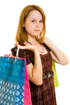 Free Girl With Shopping Royalty Free Stock Photo - 20565625