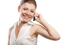 Free Young Beautiful Business Woman With Phone Royalty Free Stock Photography - 20565657