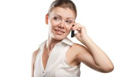 Free Young Beautiful Business Woman With Phone Royalty Free Stock Image - 20565666