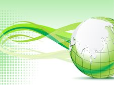 Free Abstract Green Globe With Wave  Background Stock Image - 20565741