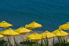 Umbrellas On Beach. View In Sunny Beach - Bulgaria Royalty Free Stock Photo