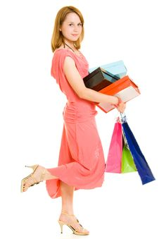 Free Girl With Shopping Royalty Free Stock Images - 20566889