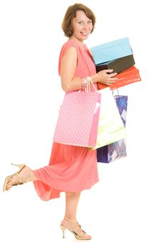 Free Girl With Shopping Royalty Free Stock Photo - 20567125