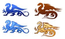 Free Fire Dragons Silhouettes Set Royalty Free Stock Images - 20567649