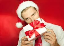 Free Man With Gift Royalty Free Stock Photography - 20568457