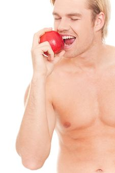 Free Happy Man Eating An Apple Royalty Free Stock Photos - 20568868