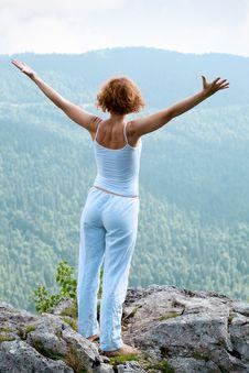 Free Female Gymnastics On The Rock Stock Photography - 20569272