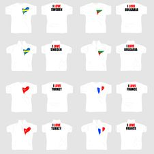 White T Shirt With Country Flags In Love Heart Royalty Free Stock Images
