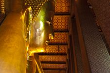 Reclining Buddha Within The Wat Pho In Bangkok. Royalty Free Stock Photos