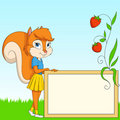 Free Cartoon Furry Squirrel With Board On Grass Royalty Free Stock Photography - 20578377