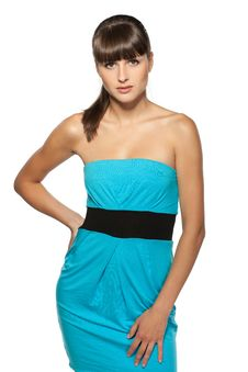 Female Model Posing In Turquoise Dress Stock Photography