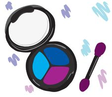 Free Cosmetic Eye Shadow With A Brush. Royalty Free Stock Photos - 20570078