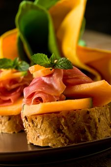 Free Ham And Melon Appetizer Stock Image - 20570361