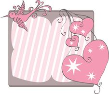 Free Pink Bird And Hearts On Frame Royalty Free Stock Images - 20570559