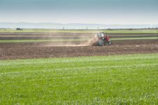 Tractor Plowing The Fields Royalty Free Stock Image