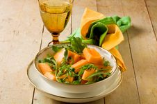 Melon And Arugula Salad Stock Images
