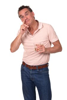 Free Man Caught Picking Nose And Drinking Royalty Free Stock Image - 20572476