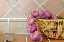 Kitchen Ware And Onion Royalty Free Stock Image
