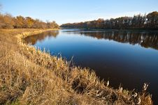 Autumn Trees Reflected In Water Royalty Free Stock Image