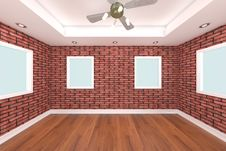 Free Home Interior 3D Rendering With Brick Wall Stock Photo - 20573830